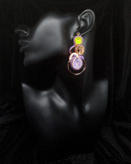 Solal Bijoux Haute Fantaisie boucles d'oreilles vert mauve or rose