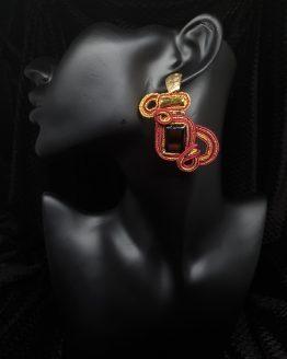 Solal Bijoux Haute Fantaisie Boucles d'oreilles bordeau et dorées