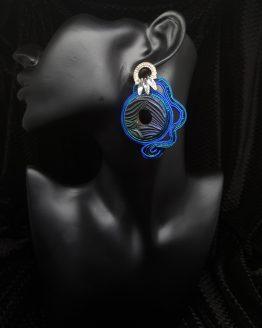 Solal Bijoux Haute Fantaisie boucles d'oreilles bleu vert argent