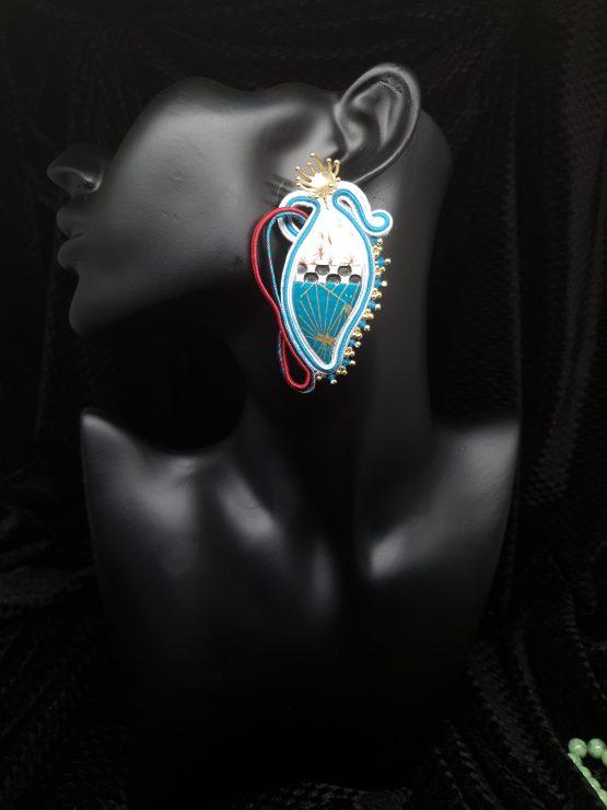 Solal Bijoux Haute Fantaisie boucles d'oreilles blanc bleu rouge