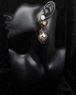 Solal Bijoux Haute Fantaisie boucles d'oreilles noir or et blanc