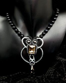 collier noir et argent avec perles en onyx Solal Bijoux Haute Fantaisie