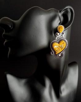 Boucles d'oreilles jaune et gris Solal Bijoux Haute Fantaisie