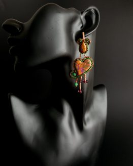 Boucles d'oreilles orange et vert Solal Bijoux Haute Fantaisie