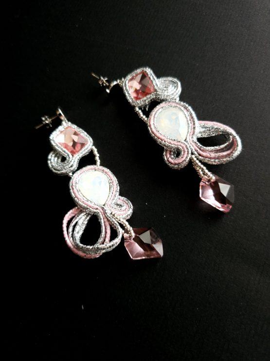 Boucles d'oreilles rose et argent Solal Bijoux Haute Fantaisie