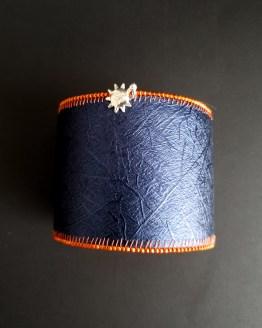 Manchette et manchon réversible orange et bleu Solal Bijoux Haute Fantaisie