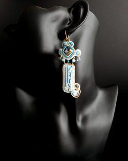 Boucles d'oreilles bleu blanc et doré Solal Bijoux Haute Fantaisie