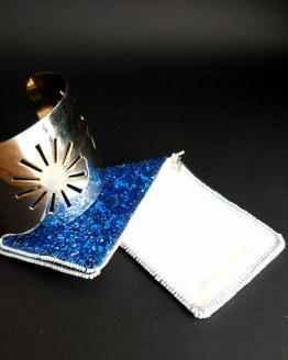 Manchette et manchon réversible bleu et blanc Solal Bijoux Haute Fantaisie