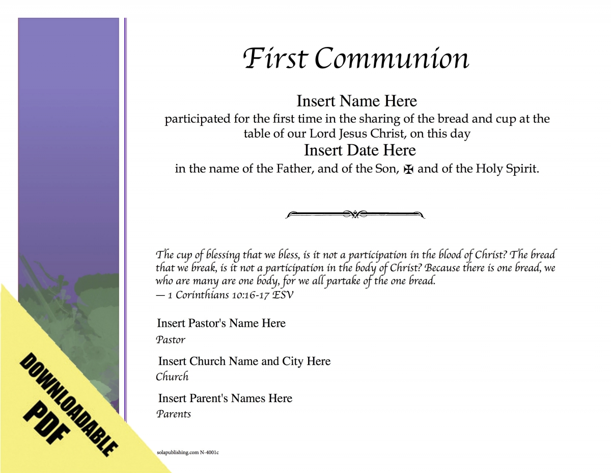 Editable Worship Certificates N 4001 Sola Publishing