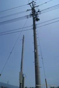 グリーンソーラー発電所(高崎市)に新しく設置された電柱
