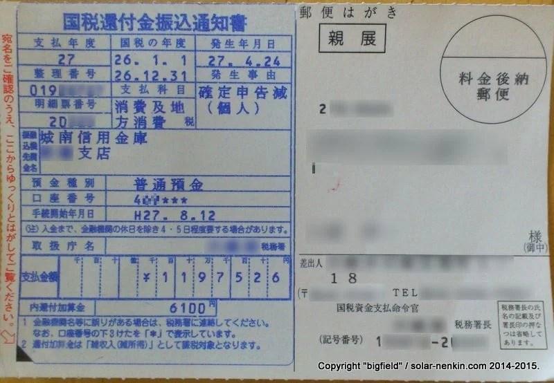 国税還付金振込通知書(消費及地方消費税)