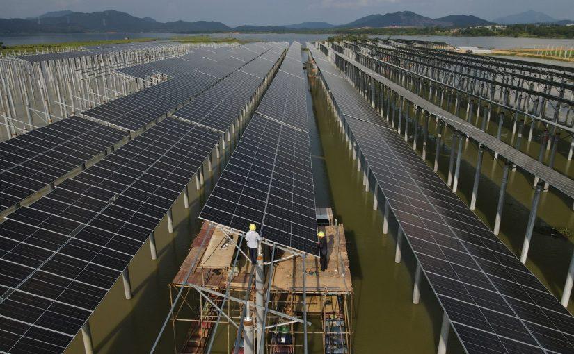 Солнечный парк 50 МВт на рисовом поле и рыбохозяйстве