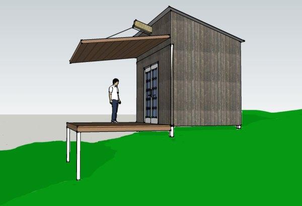 Folding cabin roof model