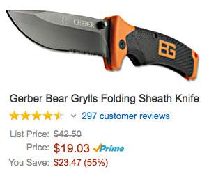 Bear Grylls Grills Knife on sale