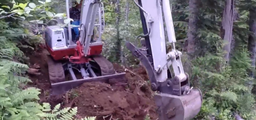 Mini Excavator making trails off grid