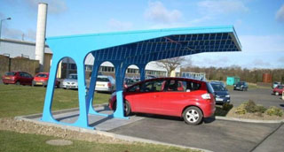 car parked under a solar carport