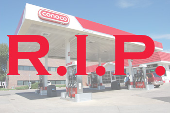 gas station with R.I.P. superimposed on it