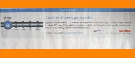 digital camera photo of an exxonmobil NYT ad