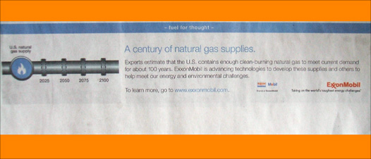 digital camera photo of an exxonmobil NYT ad