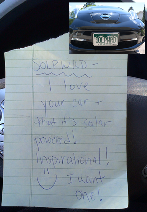 Someone left this note on my Nissan LEAF.