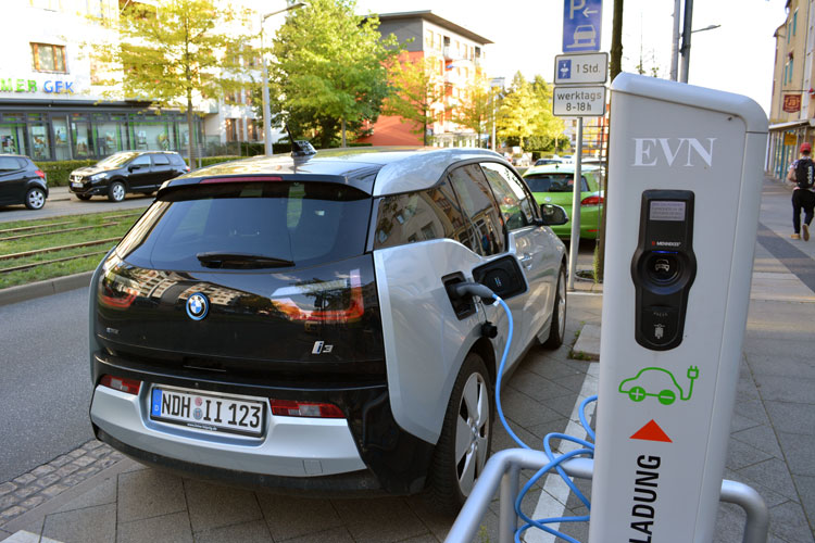 This BMW i3, plugged into a charging station in Nordhausen, Germany, is the only one of its kind in that city of 50,000 says my cousin, who owns this i3. [Photo by Christof Demont-Heinrich]
