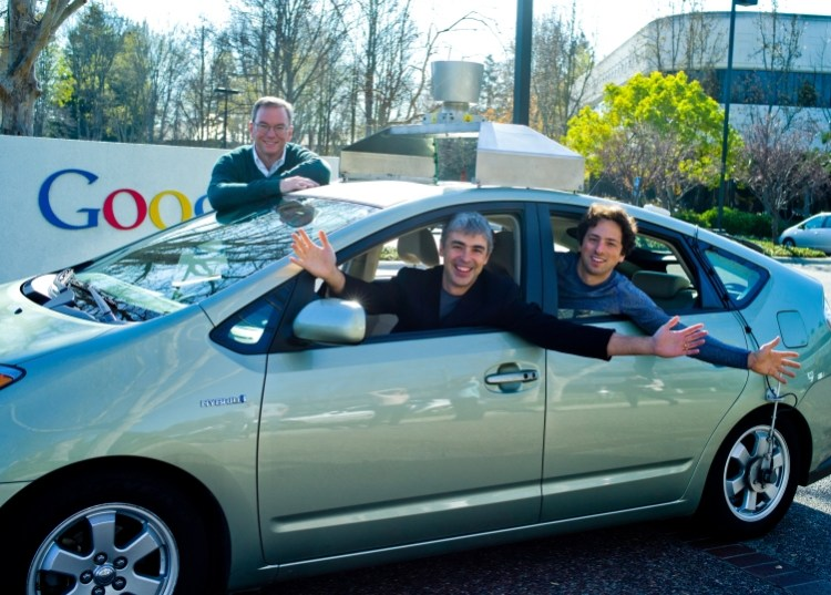 Google engineers in one of the firm's self-driving cars. [Flickr.Com Creative Commons Photo by Automotive Space]