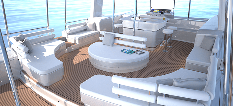 The lounge deck of the Soelcat 12 solar pontoon boat. [Photo Credit: Soelyacht.Com]
