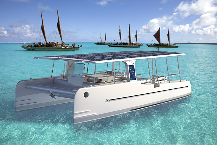 The SoelCat 12 -- a solar-charged boat -- is a pretty sight to take in with all of the solar panels on top. [Photo Credit: SoelYacht.Com]