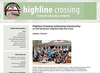 The Highline Crossing Cohousing home web page.