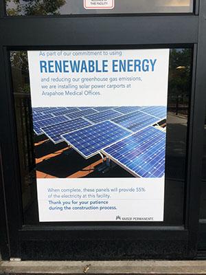 Kaiser touts its use of solar energy via its parking lot solar carport at the Arapahoe (Colorado) Kaiser in Centennial.