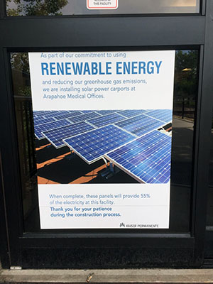 Kaiser touts its use of solar energy via its parking lot solar carport at the Arapahoe (Colorado) Kaiser in Centennial.