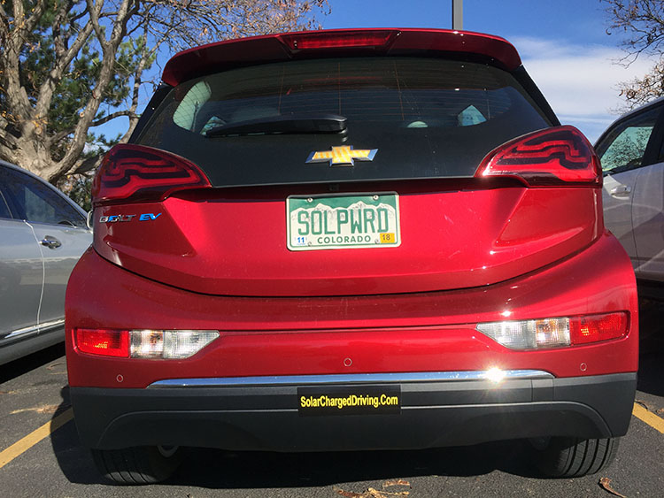 My 2017 chevy bolt now has my old custom plates that were on my 2014 nissan leaf for three and a half years i turned in my leased leaf for a bolt