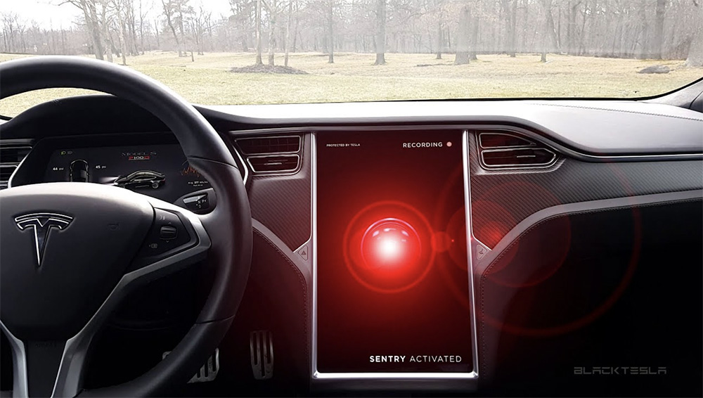 Picture of Tesla dashboard with Tesla Sentry Mode on