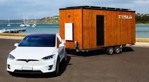 Tesla Model X towing a Tesla Tiny House