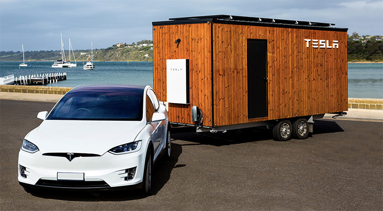 Tesla Model X towing a Tesla Tiny House