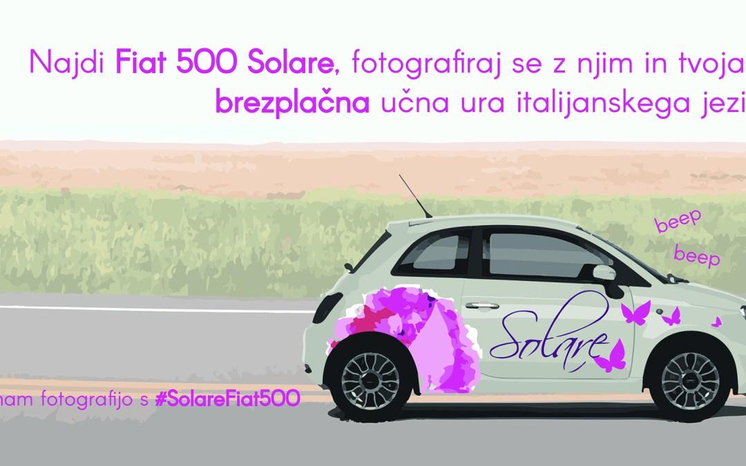 Solare Fiat 500 podarja brezplačno učno uro italijanskega jezika
