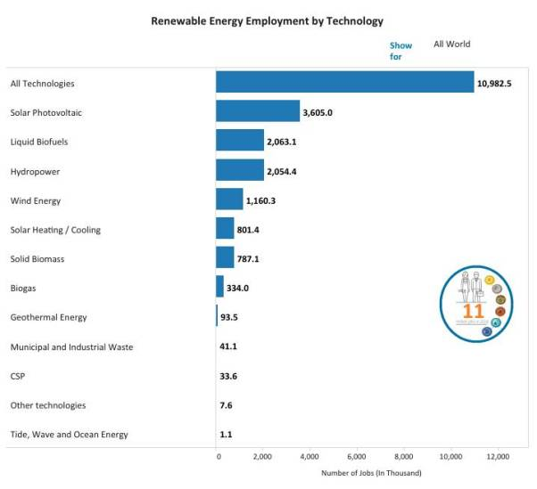 renewable energy employment by technology in all the world
