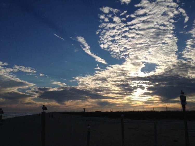 The sunset in Galveston Beach
