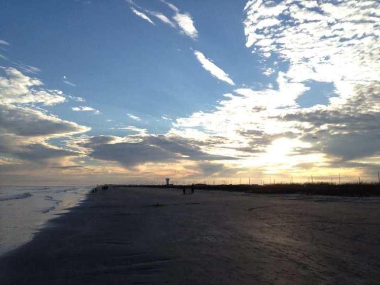 Galveston beach sunset