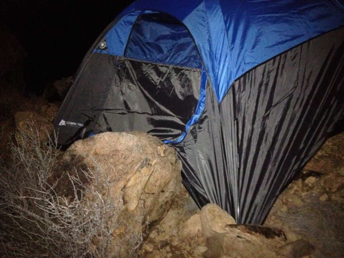 Setting up Tent on Grapevine Hills