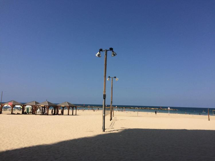 The beach in front of the Renaissance Hotel in Tel Aviv