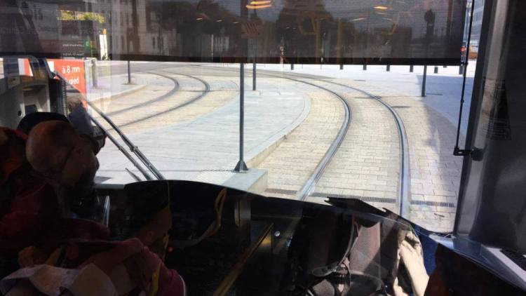 Inside a tram in Mulhouse