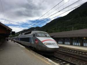 The TGV at the platform in Modane, France