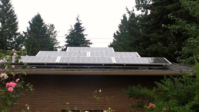 solar panels installed on the roof of Pamela Ng's house.