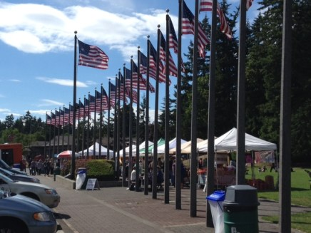 American flags at Lynnwood Farmer's Market