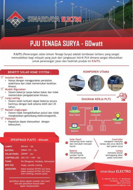 Paket PJU Lampu Jalan Tenaga Surya 60watt