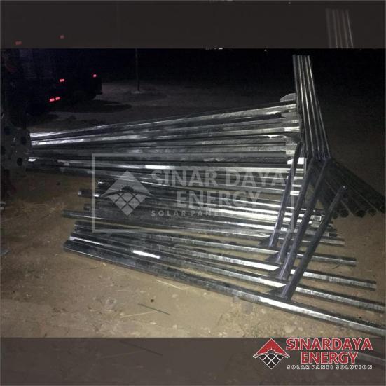 PabrikasiTiang Lampu PJU Galvanis Oktagonal dan Bulat