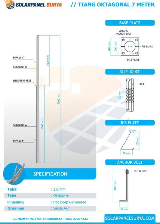 Sketsa Tiang PJU Tenaga Surya AIO 7 meter