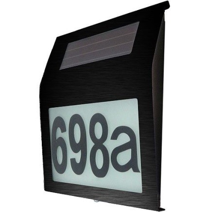 Stainless Steel (Black Powder Coated) Illuminated House Number