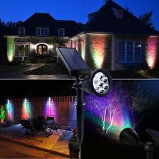 High-Output Garden Spot Light with Attached Solar Panel - RGB